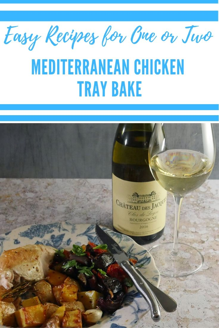 Mediterranean Chicken Tray Bake - an easy recipe for one or two with flexible ingredients #Chicken #Traybake #Mediterraneandiet #ChickenTrayBake #ChickenRecipe #SimpleRecipe