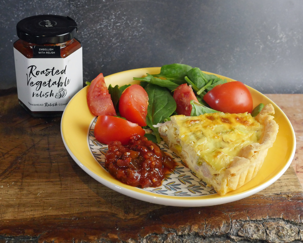 Roasted Vegetable relish with Quiche