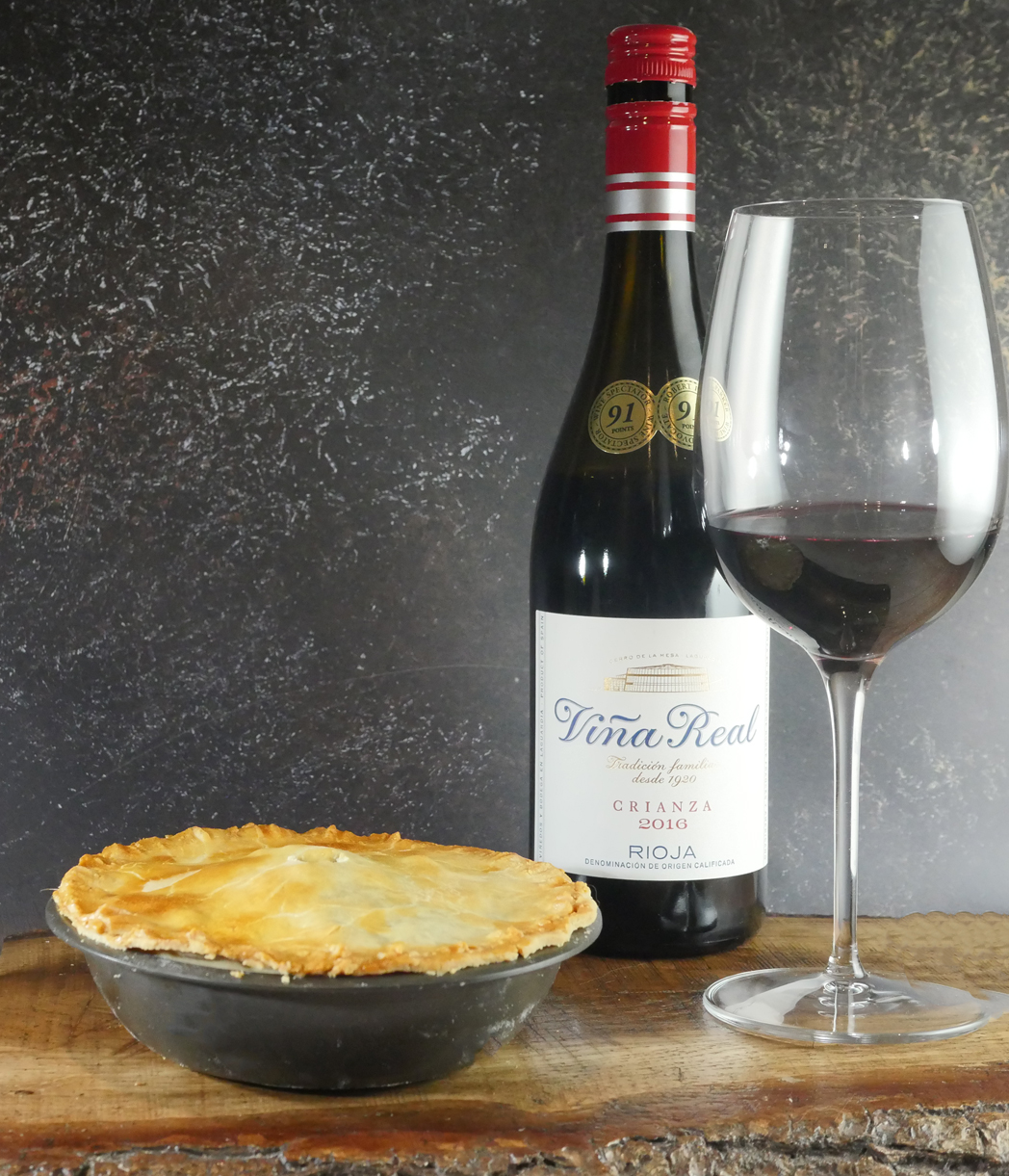 Beef and Ale Pie with wine