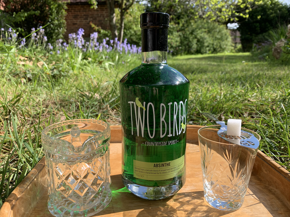 Two Birds Absinthe Bottle - with glass, absinthe spoon and water for La Louche