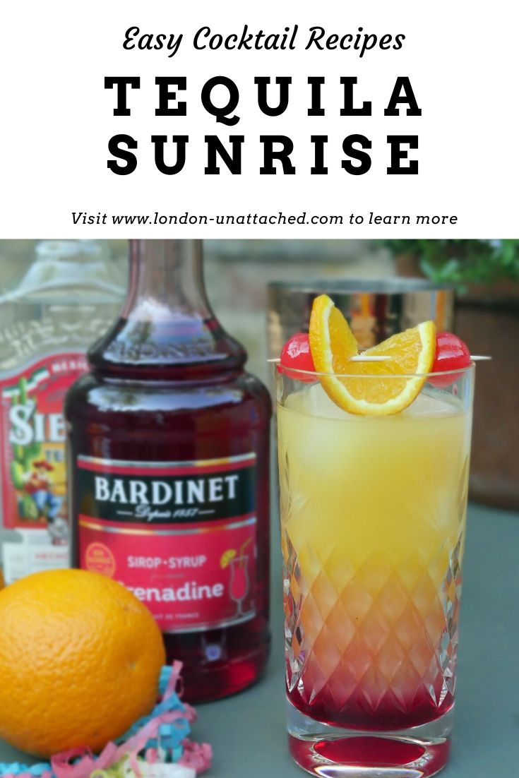 Classic Tequila Cocktail - the Tequila Sunrise - a simple summery drink with orange juice, tequila, grenadine and ice.