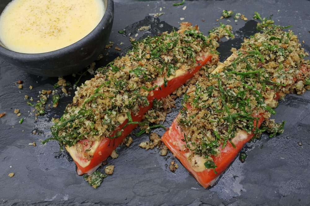 Fresh Spice Salmon with herb crust-
