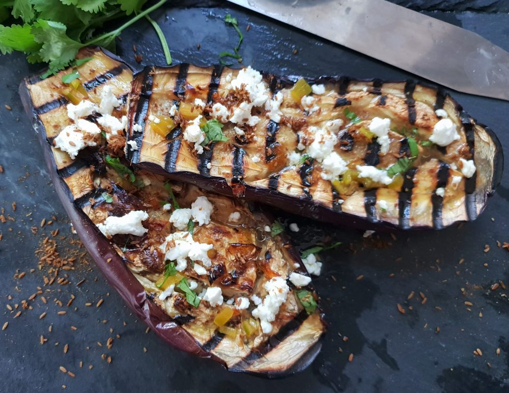 Fresh Spice aubergines with cumin and feta