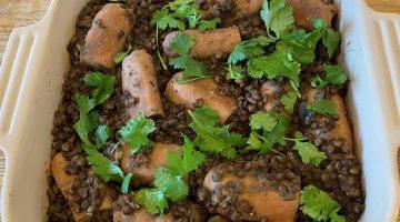 Vegetarian Sausage and Lentil Casserole