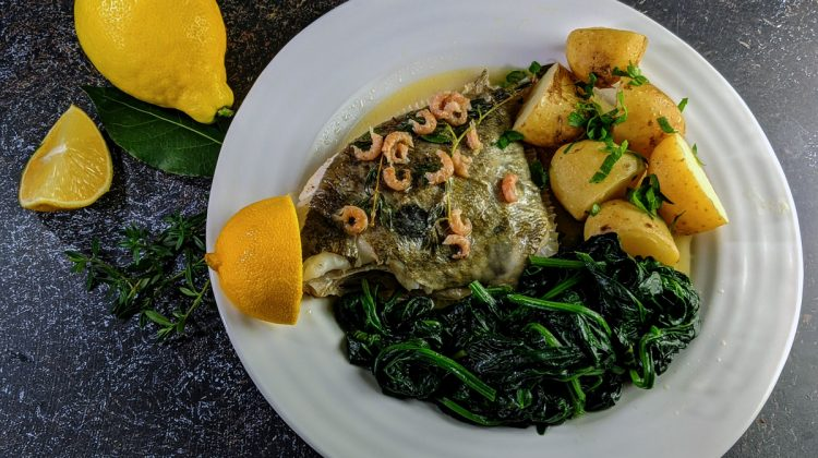 whole John Dory roasted with lemon and vermouth