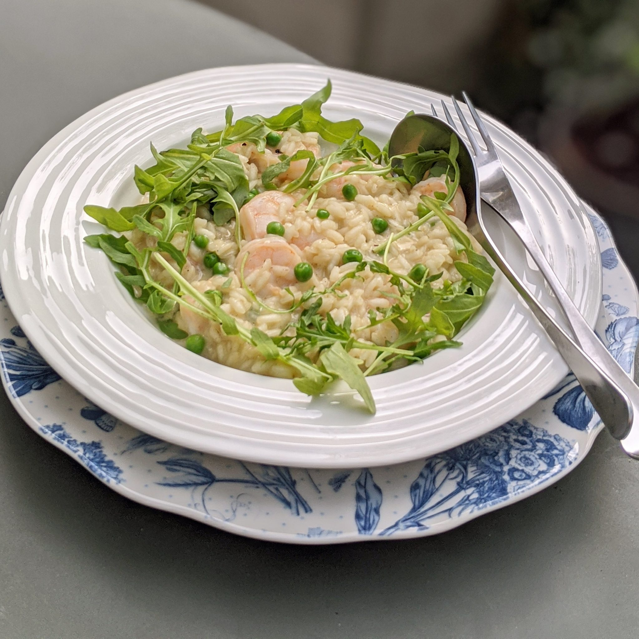 Pea and Pawn Risotto
