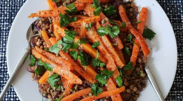 Lentils with maple and cumin roasted carrots