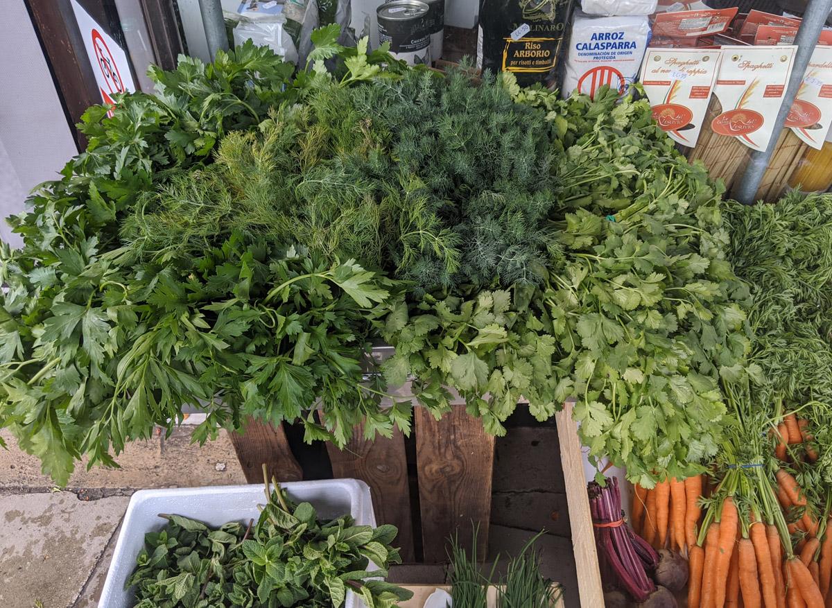 Veg and herbs at Moxons