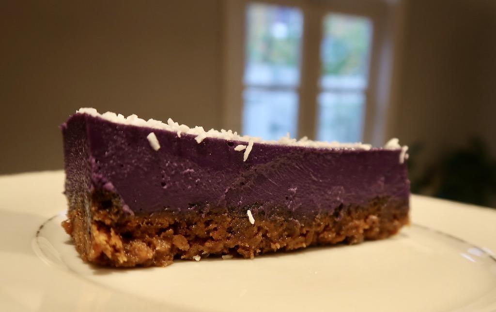 Ube purple yam cheesecake from Romolo Cafe