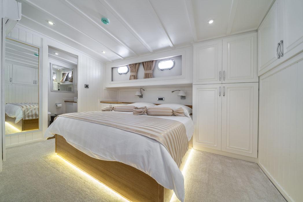 Cabin on board a Goolet iin Croatia
