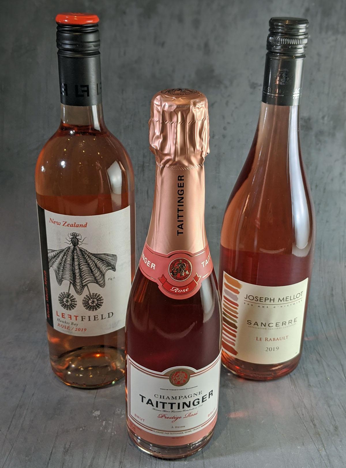Rosé Wine Pairing Wines - Taittinger, Left Field and Joseph Mellot Sancerre