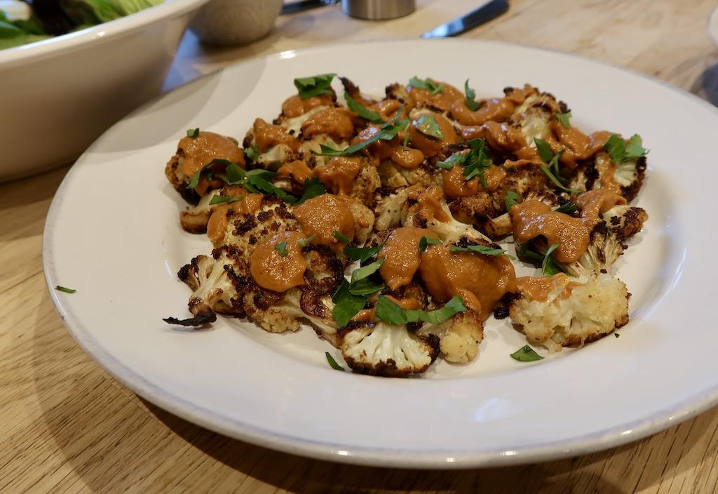 The Cookaway roasted cauliflower with Romesco sauce