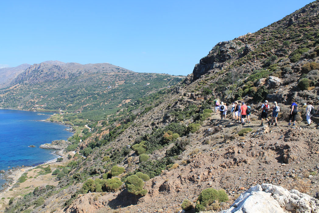 Walkers High Above the Shoreline in Crete - solo walking holidays in Crete