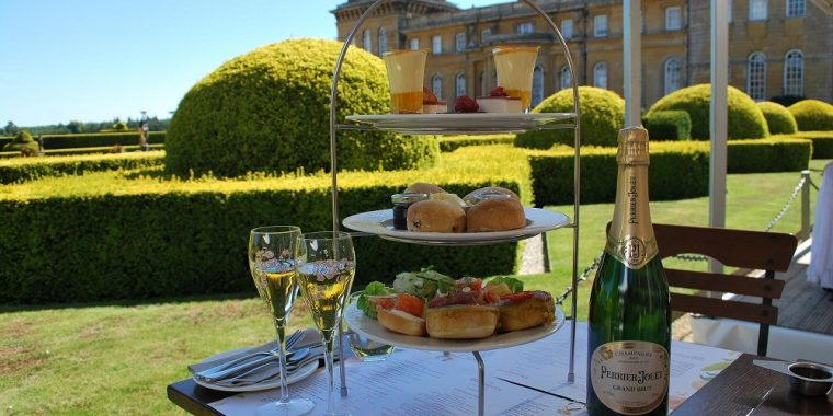 Afternoon tea spread with champagne