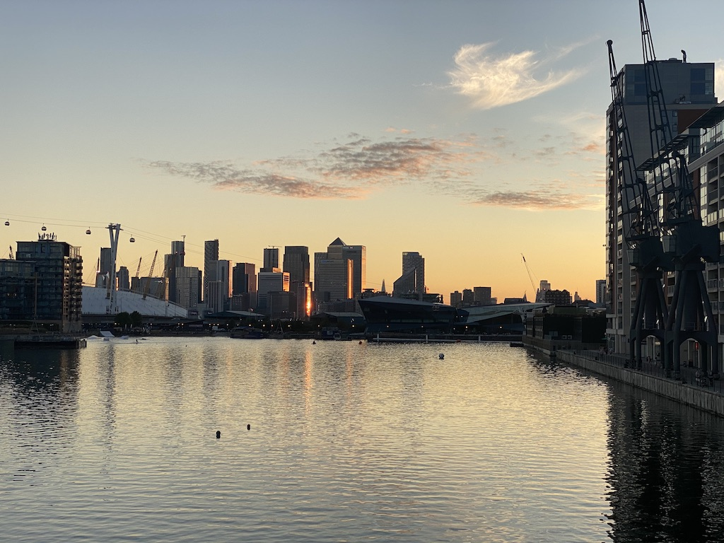 sunset view of the City of London