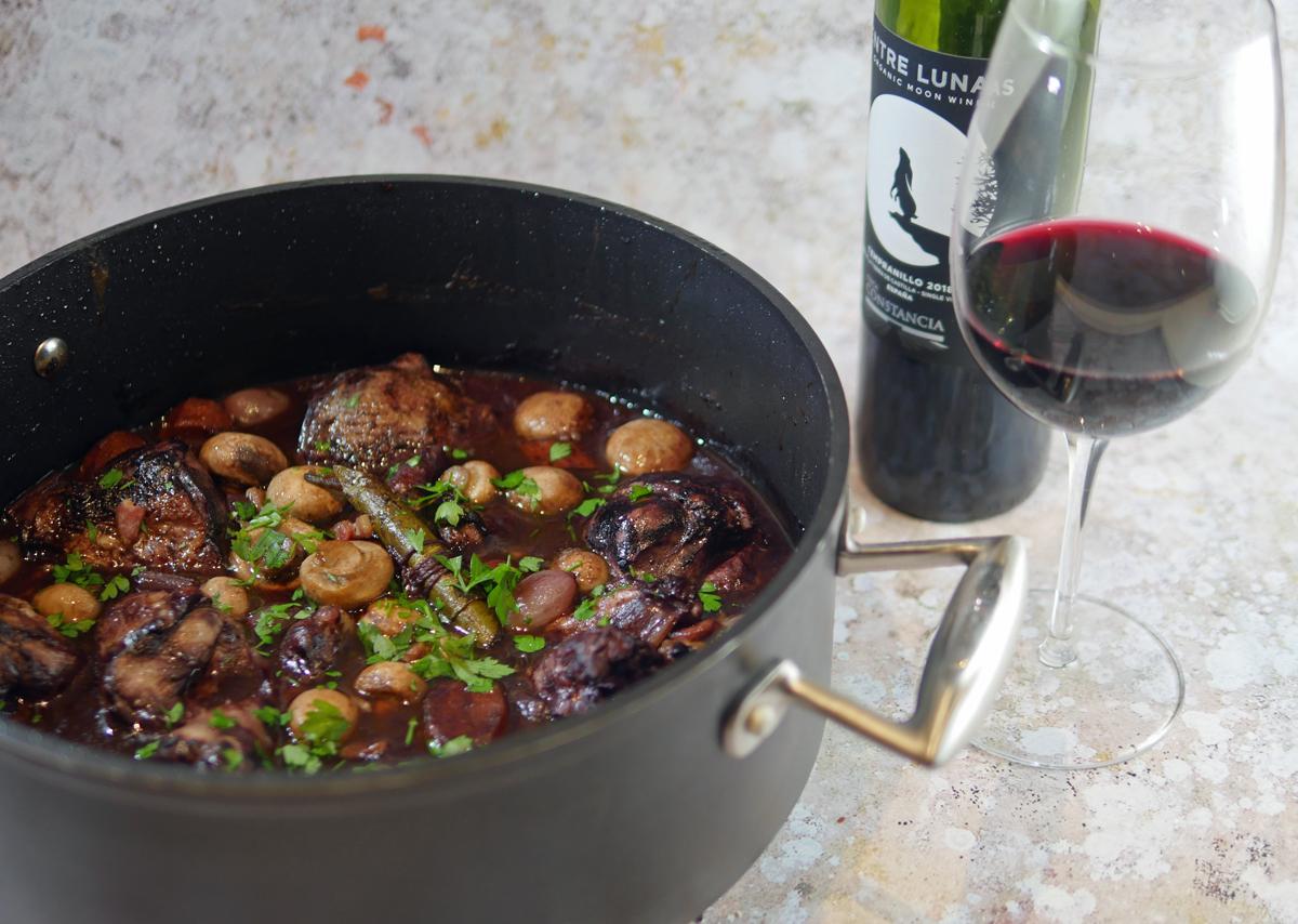Coq au Vin with Entre Lunas Wine