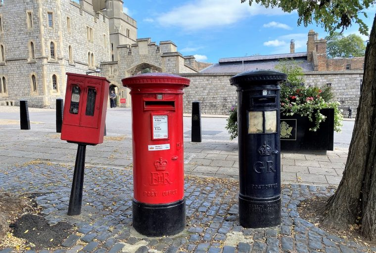 Blue and red post boxes in Windsor