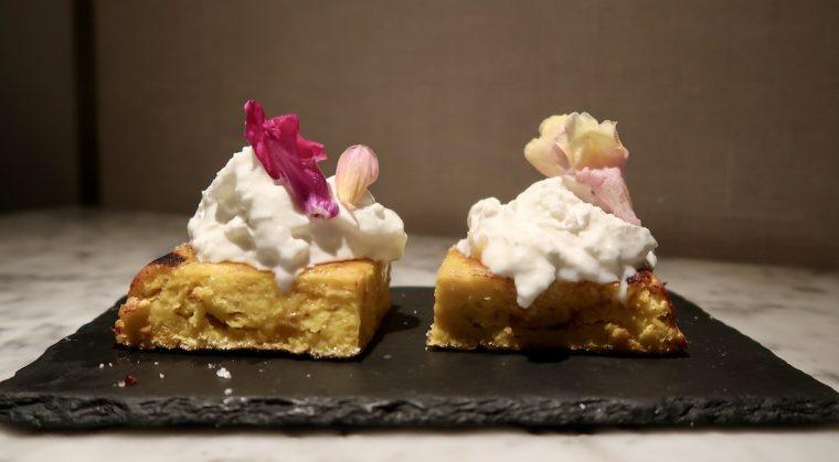Zuaya Italian burrata on Peruvian corn cake