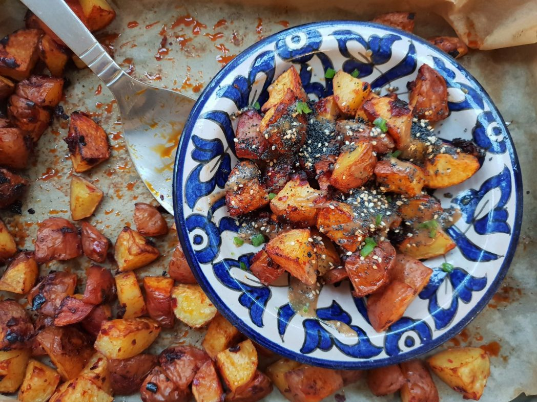 FLAVOUR Spicy roast potatoes with tahini and soy