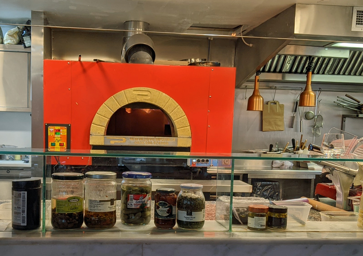 Pizza oven at Bella Cosa