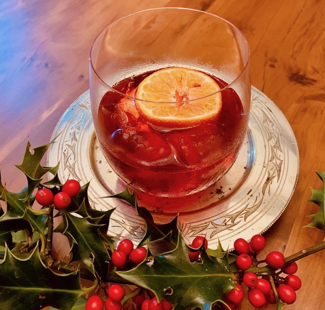 Christmas Negroni on the table