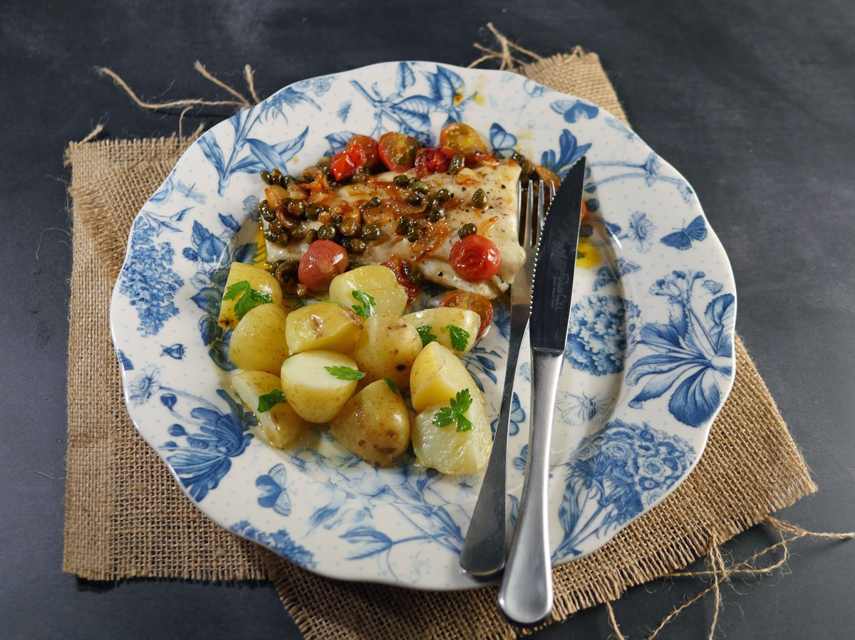 Cod with Capers and Tomatoes
