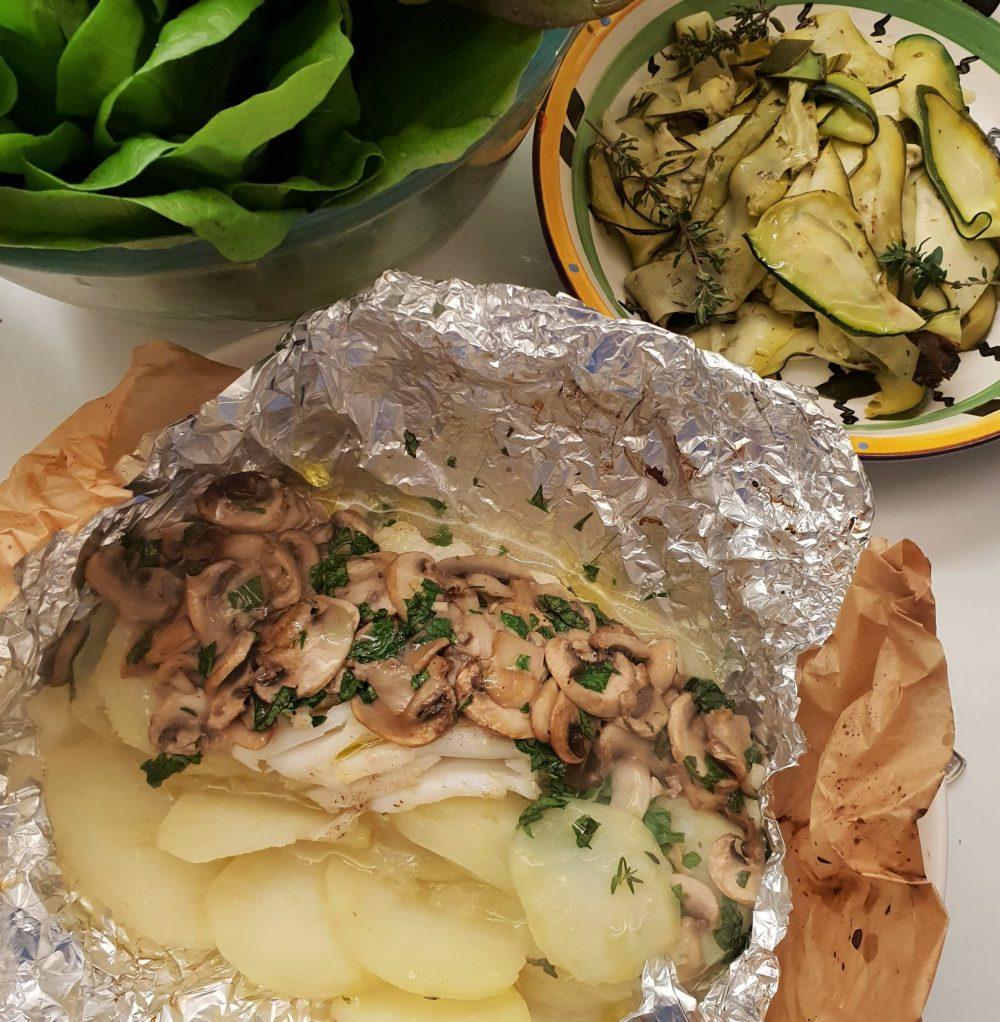 Homegrown hake with mushrooms and potatoes