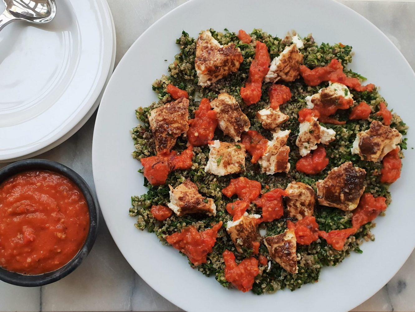 From Beder's Kitchen Pomegranate, feta and tabbouleh