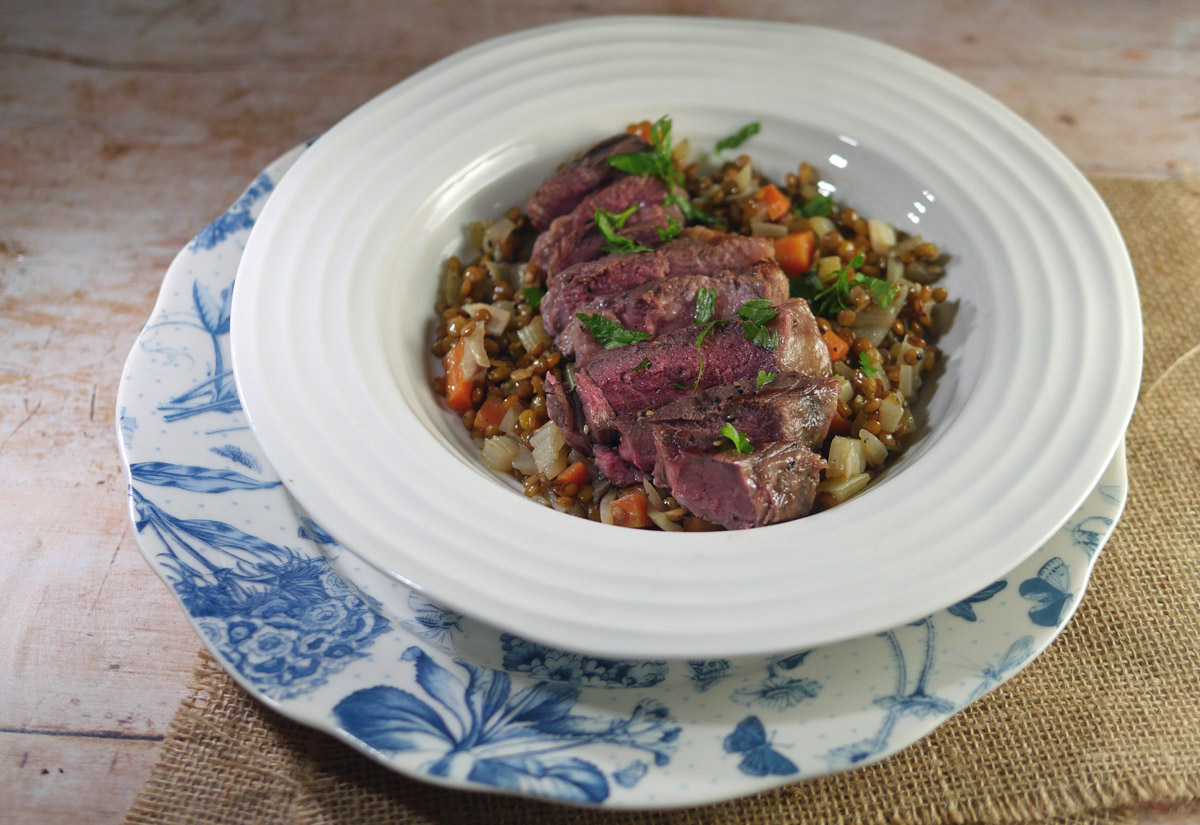 Lamb steak grilled with Lentils