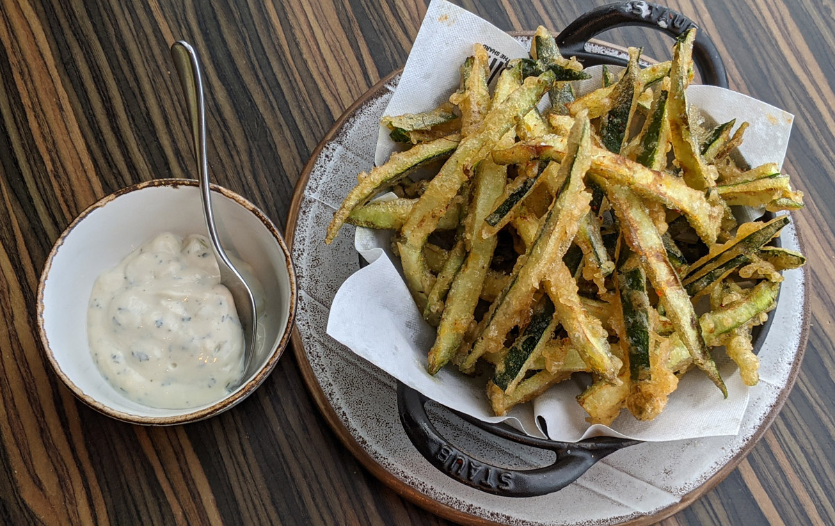Courgette fries with yoghurt dip at Oblix
