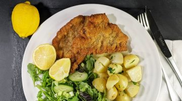 Veal Schnitzel with Salad and Potatoes