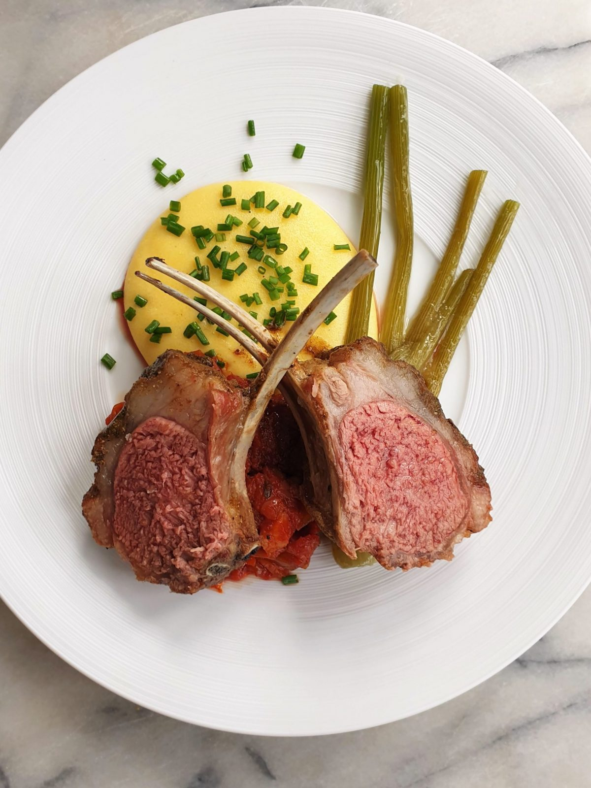 Banquist Jitin Joshi rack of lamb with polenta and Napoli sauce