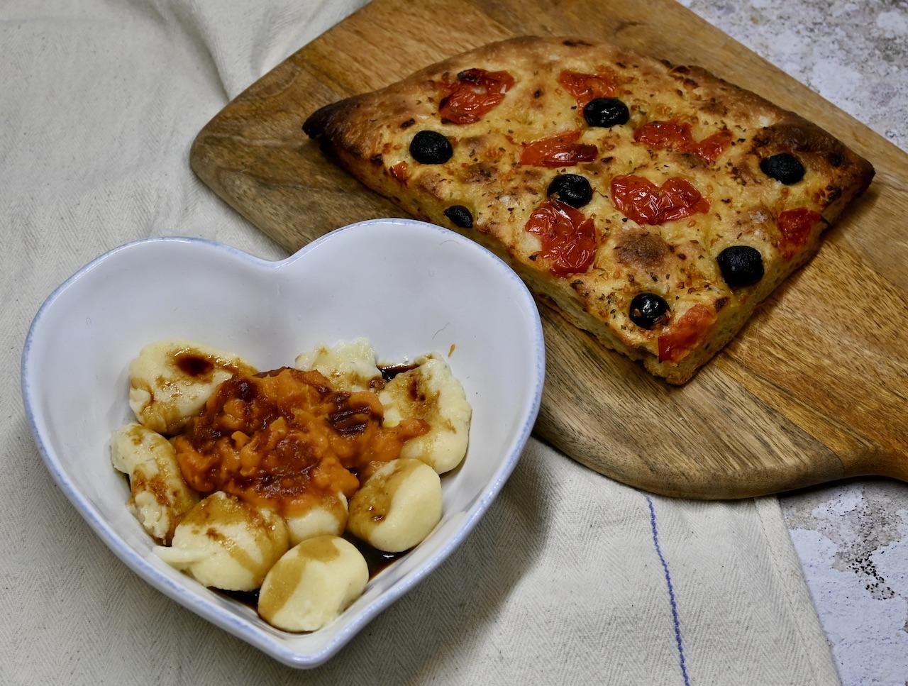 Fidelari - gnaocchi pumpkin and thyme cream sauce & focaccia