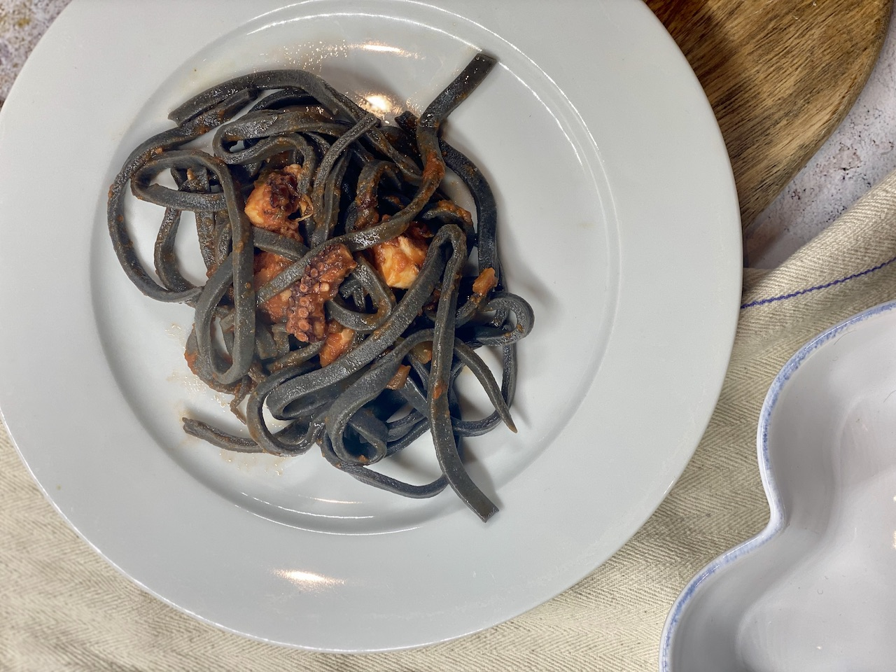 Fidelari -squid ink troccoli with octupus ragu
