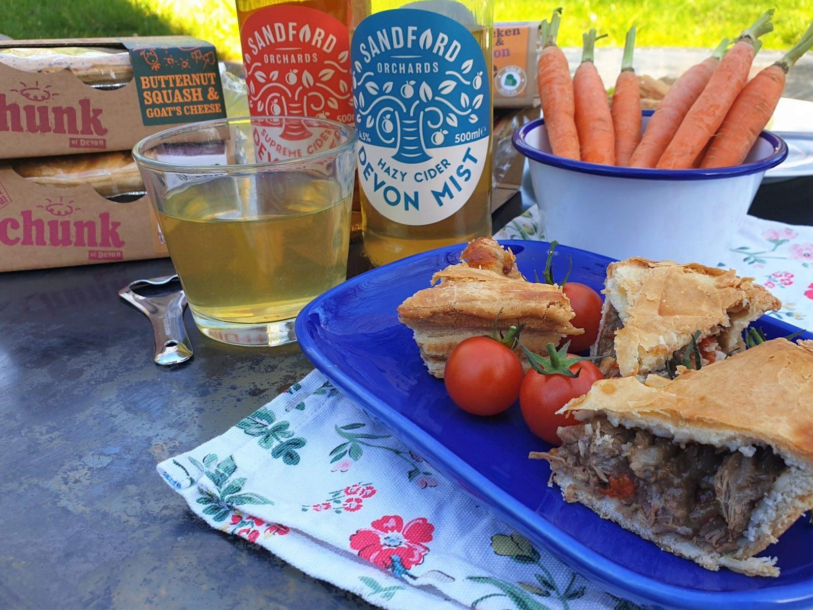 Chunk of Devon pie and Sandford Orchard cider
