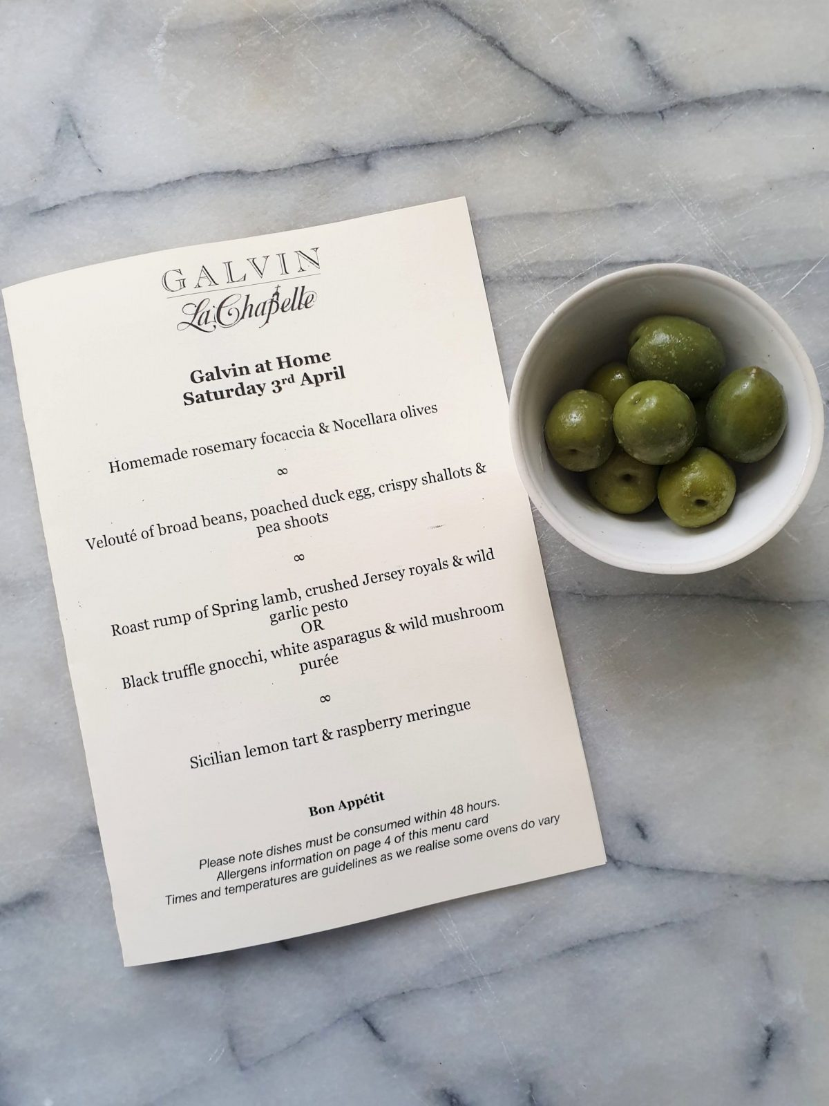 Galvin at Home menu