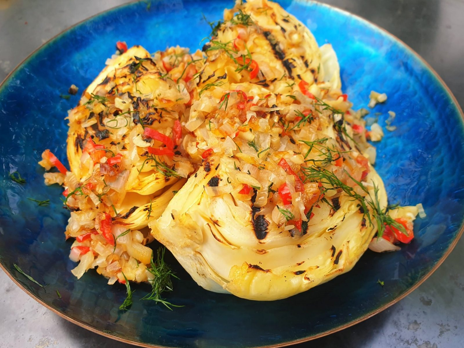 Chasing Smoke Cabbage with chilli garlic butter
