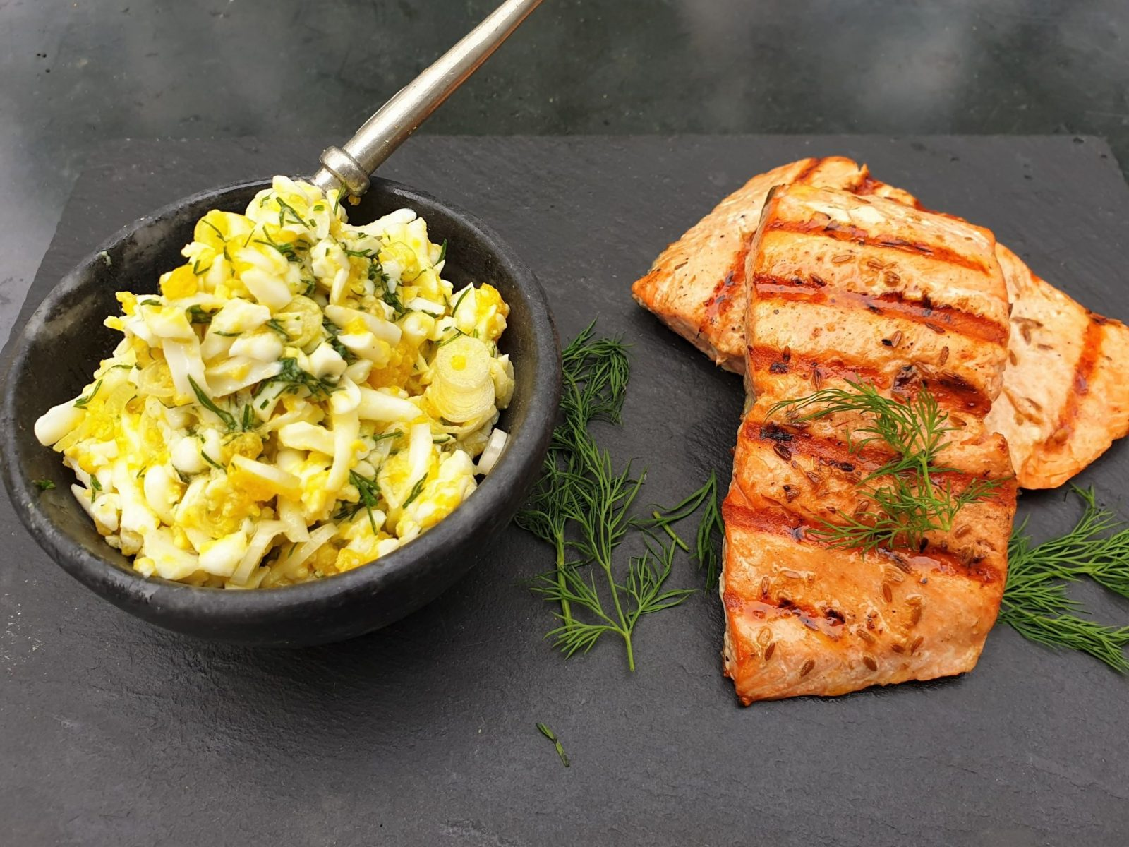 Chasing Smoke Salmon with egg and dill