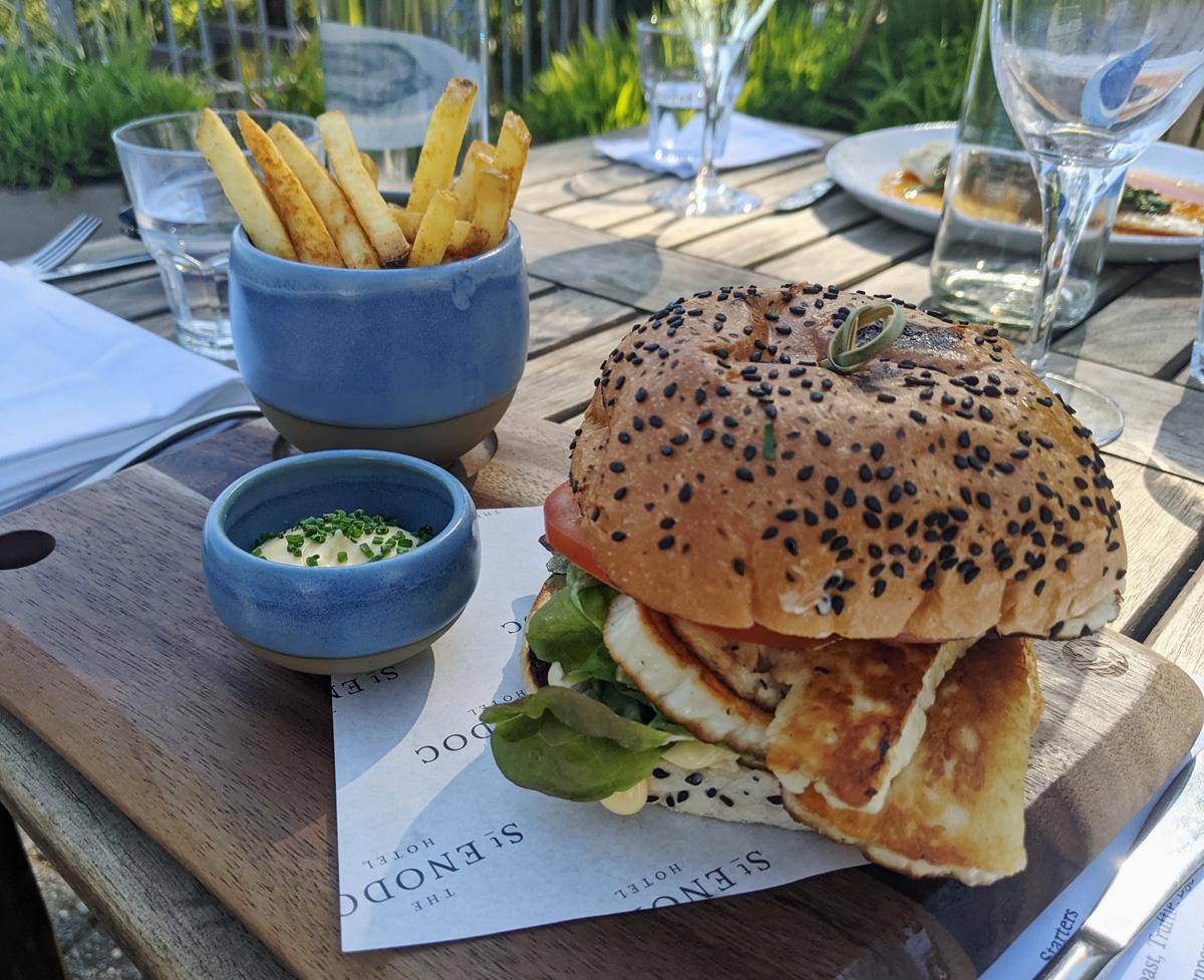 Halloumi Burger and Fries at St Enodoc