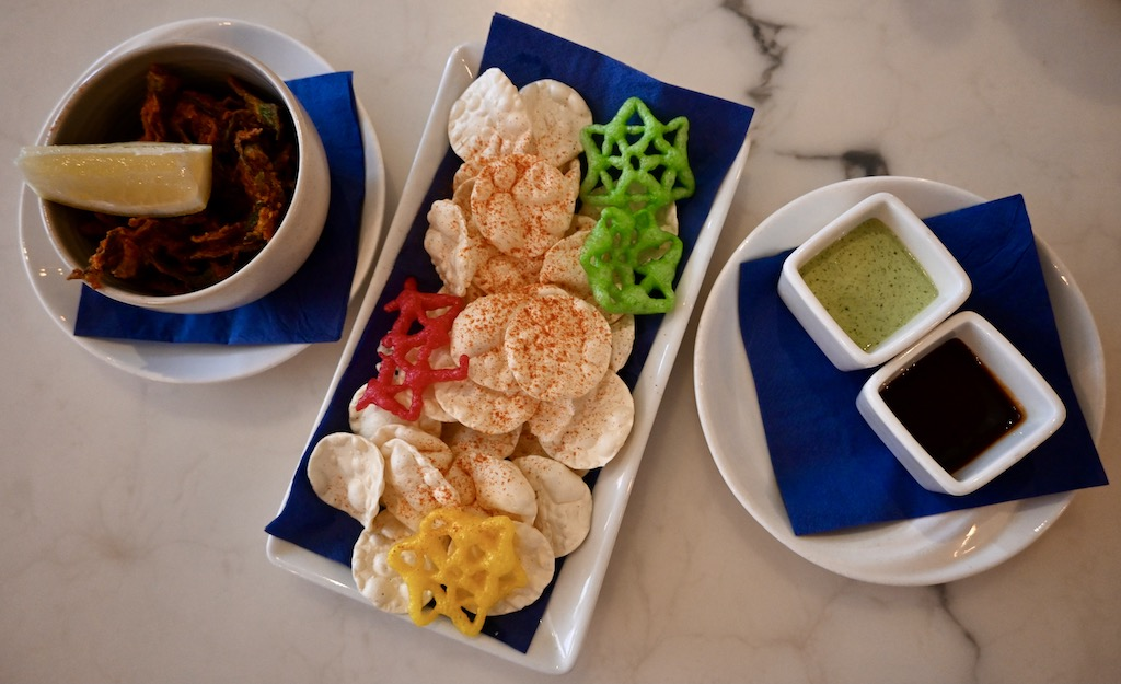 chilli pappads, yoghurty mint and tamarind dips