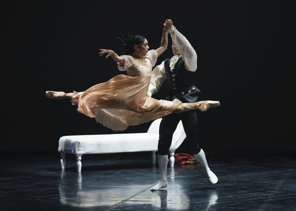Rachael Gillespie as Cecile and Joseph Taylor as Valmont in Dangerous Liaisons. Photo Emma Kauldhar (2)