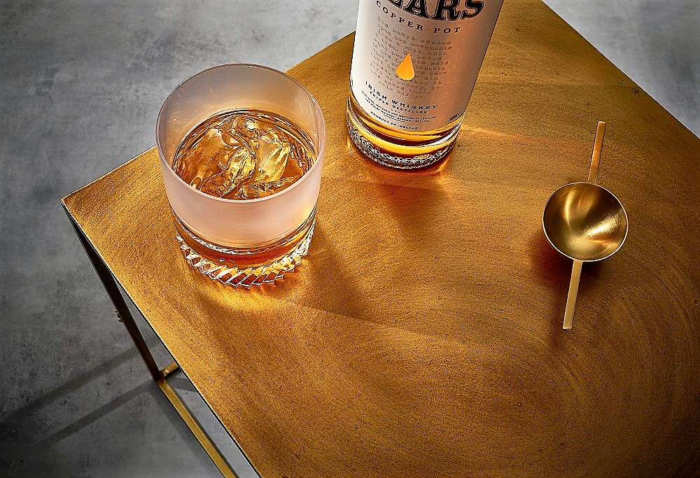Writers Tears whiskey - Copper Pot-with glass