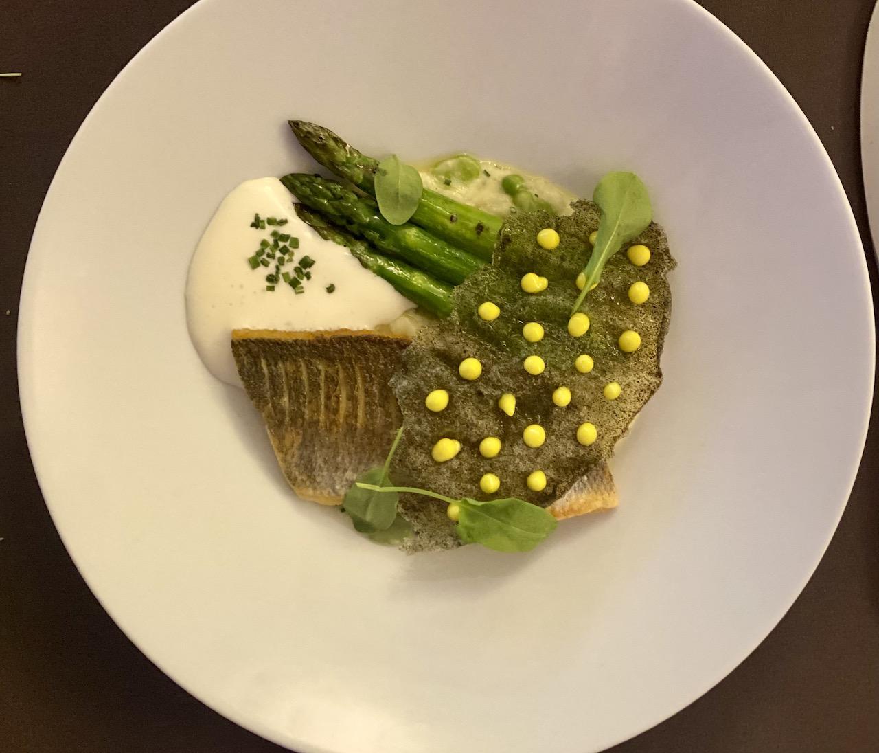 Fillet of Cornish sea bass with 'risotto primavera'