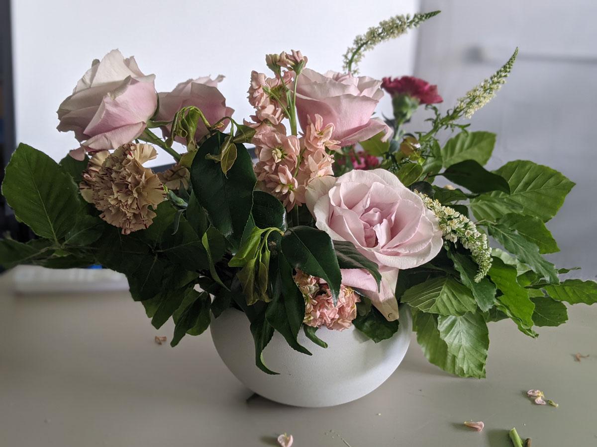 Flower Arrangement in progress at Blooming Haus
