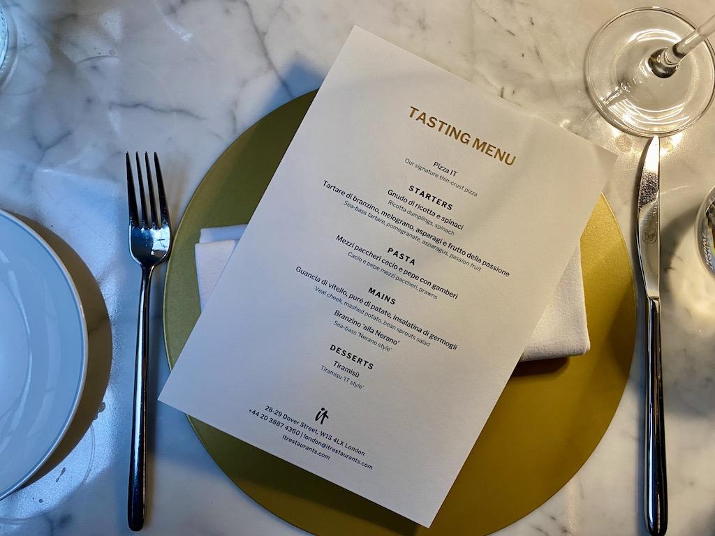 IT London tasting menu
