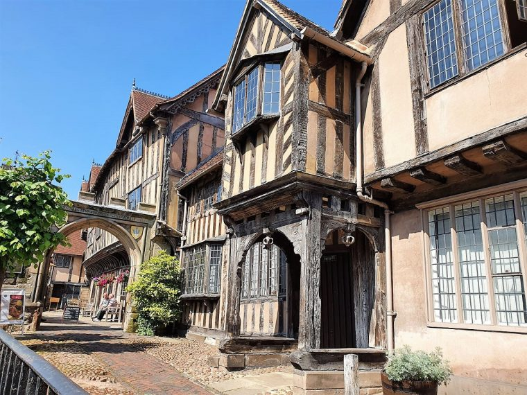 Exterior view of Lord Leycester Hospital in Warwick