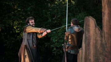 Maximilian Marston - Macduff. Ronnie Yorke - Macbeth. TLCM Macbeth 2021. Photographer Jack Offord