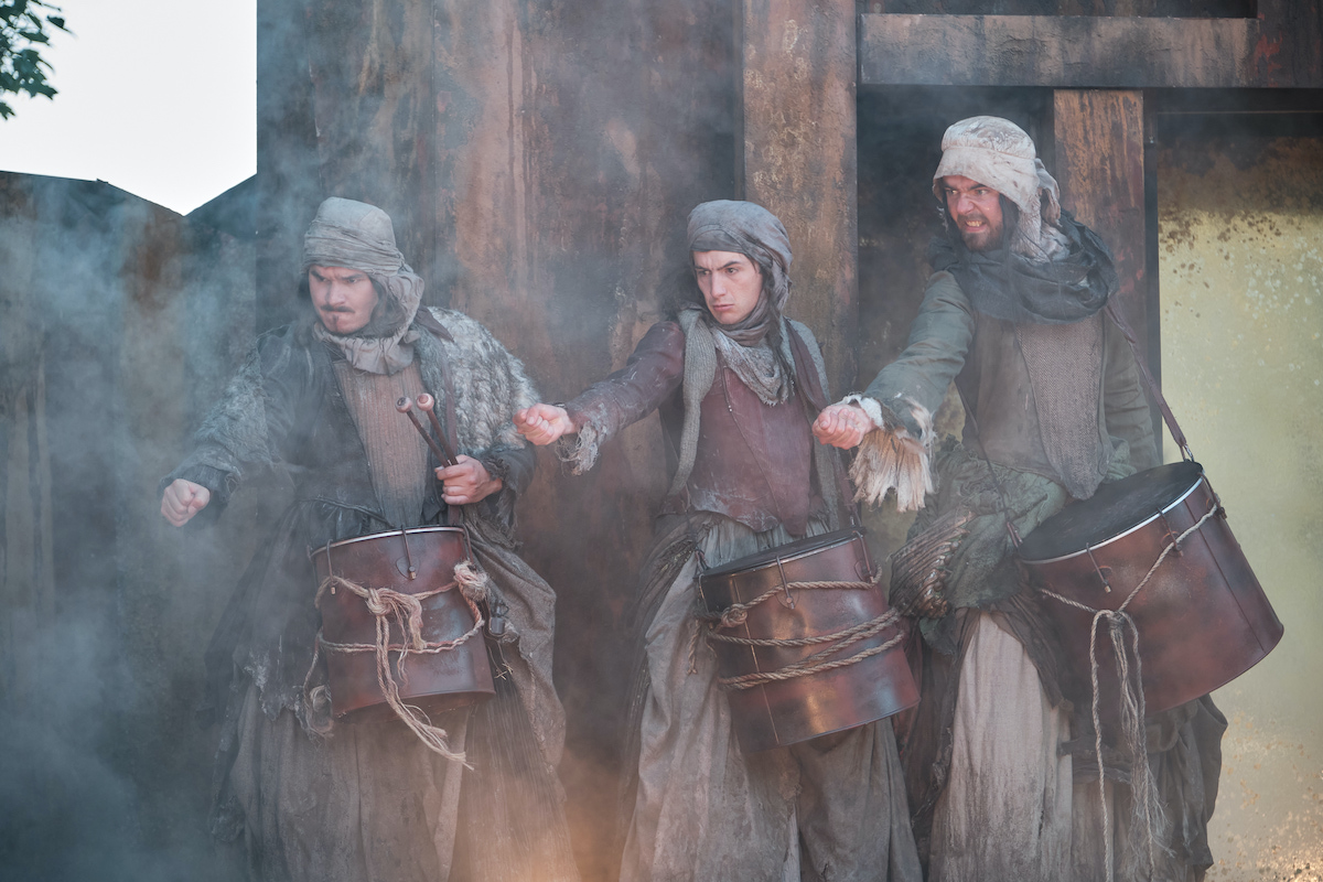 Michael Falukner - Weird Sister. Rhys Warrington - Weird Sister. Maximilian Marston - Weird Sister. TLCM Macbeth 2021. Photographer Jack Offord