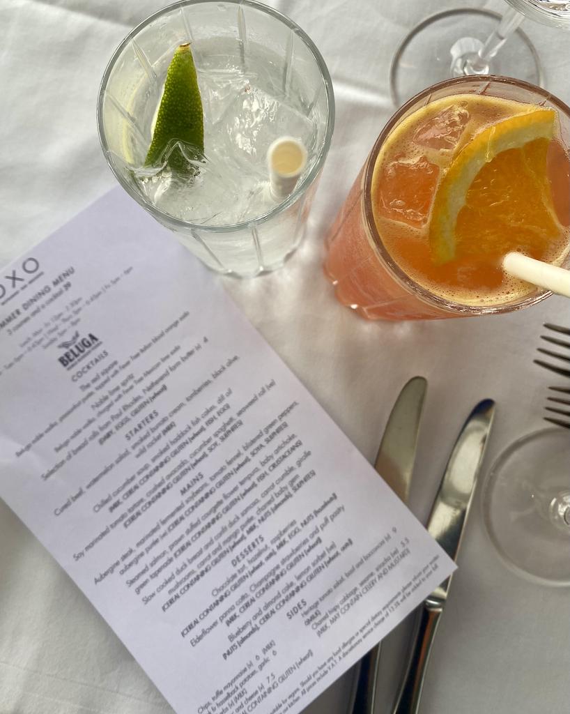 OXO Tower Summer Dining menu