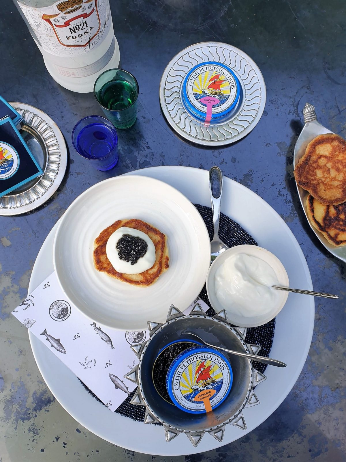 Petrossian caviar with blinis